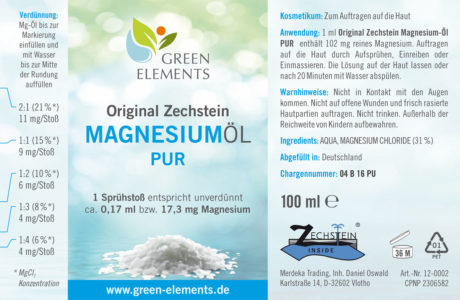 Etikett 100 ml Original Zechstein Magnesiumöl PUR