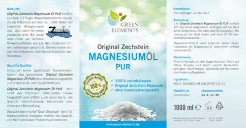 Etikett 1.000 ml Original Zechstein Magnesiumöl PUR